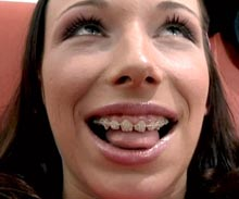 She is been very eager to suck cock ever since she got her braces and even more curious of what its like to fill her braces with thick gooey cum.